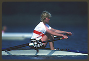 Banyoles, SPAIN, German Women's Single Scull. GER W1X; Beate SCHRAMM competing at the 1992 Olympic Regatta, Lake Banyoles, Barcelona, SPAIN.    [Mandatory Credit: Peter Spurrier: Intersport Images]