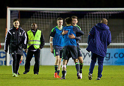 BANGOR, WALES - Saturday, November 12, 2016: Wales' Thomas Harris and Ben Woodburn celebrate their side's 3-2 victory over England during the UEFA European Under-19 Championship Qualifying Round Group 6 match at the Nantporth Stadium. (Pic by Gavin Trafford/Propaganda)