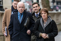© Licensed to London News Pictures. 04/02/2019. London, UK. Caroline Spelman MP (R) and Jack Dromey MP (2-L) arrive at the Cabinet Office for a meeting of the Alternative Arrangements Working Group on Brexit. Photo credit: Rob Pinney/LNP