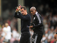 Football - 2021 / 2022 Sky Bet Championship - Fulham vs Hull City - Craven Cottage - Saturday 21st August 2021<br /> <br /> Fulham Manager Marco Silva with coach Luis Boa Morte<br /> <br /> Credit : COLORSPORT/Andrew Cowie