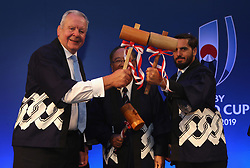 Bill Beaumont, ( L) chairman of World Rugby poses with World Rugby vice chairman Agustin Pichot (R) watched by Fujito Mitarai, chairman of JR2019 during the traditional opening of the sake barrel during the pre Rugby World Cup Japan 2019 reception held at the Hyatt Regency hotel on the eve of the Rugby World Cup Japan 2019 Pool Draw, on May 9, 2017 in Kyoto, Japan. The Rugby World Cup Japan 2019 takes place on May 10, in Kyoto, Japan. Photo by Dave Rogers - World Rugby/PARSPIX/ABACAPRESS.COM