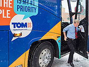 29 JANUARY 2020 - KNOXVILLE, IOWA: TOM STEYER gets off his campaign bus at a campaign event in Knoxville, about 40 miles southeast of Des Moines, Wednesday. About 60 people attended the campaign meet and greet. Steyer, a California businessman, is campaigning to be the Democratic nominee for the US Presidency in 2020. Iowa holds the first selection event of the 2020 election cycle. The Iowa Caucuses are Feb. 3, 2020.         PHOTO BY JACK KURTZ