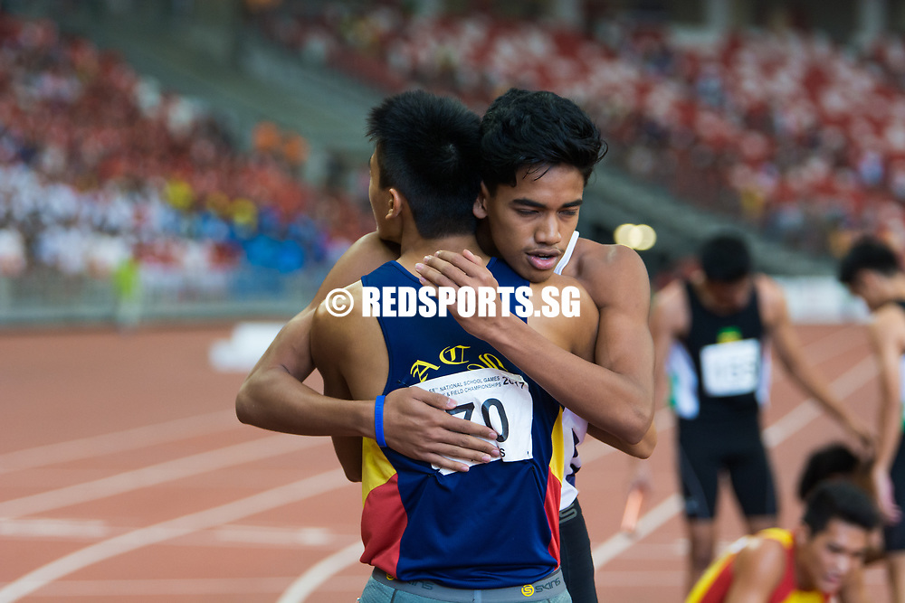 National Stadium, Friday, April 28, 2017 — The last time Anglo-Chinese School (Independent) won a relay gold at the National Schools Track and Field Championships was three years ago, in the C Division boys' 4 by 400 metres. Story: https://www.redsports.sg/2017/05/02/a-div-4x400m-relay-acsi/