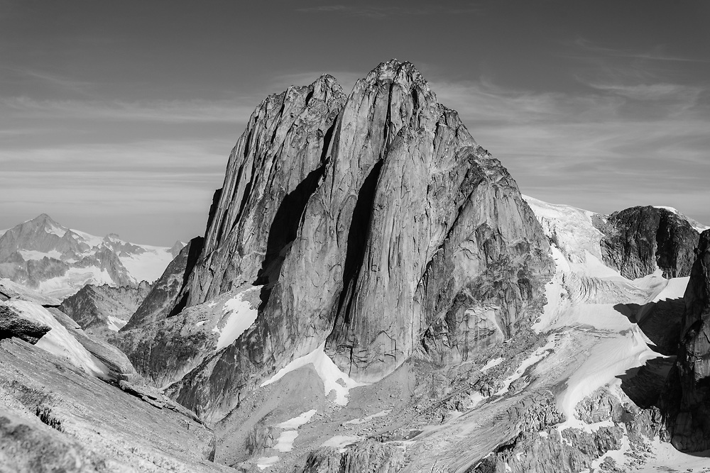 The Howser Towers in the Bugaboos from the south