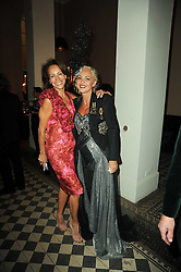 Left to right ANDREA DELLAL and AMANDA ELIASCH at 'Superficial Butterfly' a party hosted by Amanda Eliasch to celebrate her 50th birthday held at Number One Mayfair (St Marks Church) North Audley Street, London on 12th May 2010.