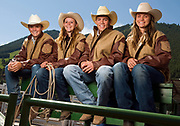 NEWS&GUIDE PHOTO / PRICE CHAMBERS<br /> From left, AJ Fuchs, Tayler Holmes, Jake Mangis and Shyann Lucas are this year's buckle winners at the high school rodeo.