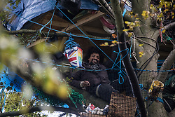 Aylesbury Vale, UK. 6th October, 2020. An anti-HS2 activist smiles from under a makeshift tree house about sixty feet above ground at a wildlife protection camp in ancient woodland at Jones' Hill Wood. The Jones' Hill Wood camp, one of several protest camps set up by anti-HS2 activists along the route of the £106bn HS2 high-speed rail link in order to resist the controversial infrastructure project, is currently being evicted by National Eviction Team bailiffs working on behalf of HS2 Ltd.
