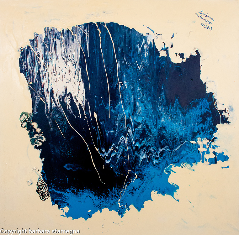 creamy white, light blue, dark blue, white, fluid colored cave like artwork with nuances, lines and shades.