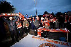 Blackpool fans outside the stadium hold up Oyston Out scarves in protest prior to the beginning of the Emirates FA Cup, third round match at Bloomfield Road, Blackpool.