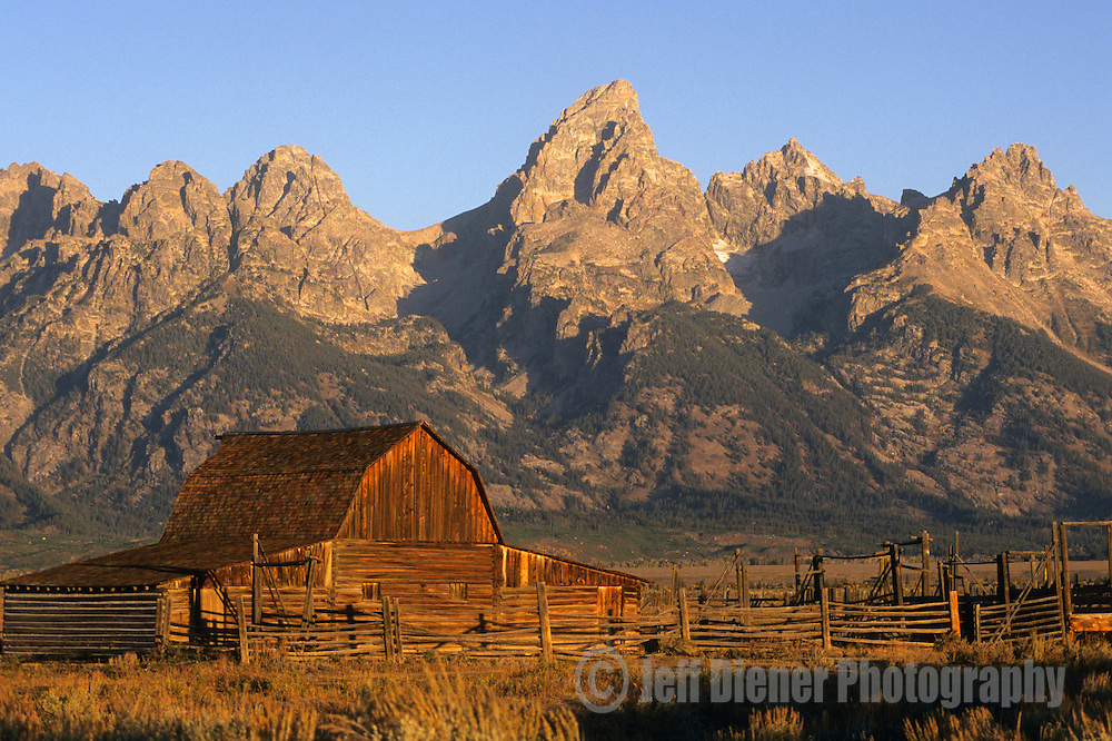 The Moulton Barn sits below the Tetons in Grand Teton National Park, Jackson Hole, Wyoming.