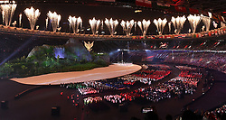 JAKARTA, Aug. 18, 2018  Fireworks explode over the Gelora Bung Karno (GBK) Main Stadium at the opening ceremony of the 18th Asian Games in Jakarta, Indonesia, Aug. 18, 2018. (Credit Image: © Li He/Xinhua via ZUMA Wire)