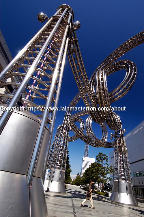 Modern art steel sculpture in Minato Mirai district of Yokohama Japan