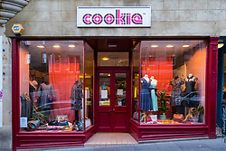 Cookie fashion clothing shop on Cockburn Street in Edinburgh Old Town, Scotland, United Kingdom