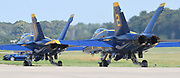 The U.S. Navy's Blue Angels aerobatic flight team during an afternoon practice at Spirt of St. Louis Airport on Thursday in Chesterfield on September 5, 2019 in advance of the annual Spirit of St. Louis Airshow and STEM Expo which runs Saturday and Sunday, September 7th and 8th.<br /> Tim Vizer/Spirit of St. Louis Airshow & STEM Expo