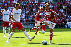Matty Taylor of Bristol City is challenged by Michael Dawson of Nottingham Forest - Rogan/JMP - 04/08/2018 - Ashton Gate Stadium - Bristol, England - Bristol City v Nottingham Forest - Sky Bet Championship.