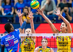 18-05-2019 GER: CEV CL Super Finals Igor Gorgonzola Novara - Imoco Volley Conegliano, Berlin<br /> Igor Gorgonzola Novara take women's title! Novara win 3-1 /  Paola Ogechi Egonu #18 of Igor Gorgonzola Novara, Joanna Wolosz #14 of Imoco Volley Conegliano, Robin de Kruijf #5 of Imoco Volley Conegliano
