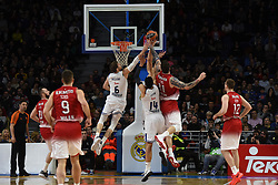 January 27, 2017 - Madrid, Madrid, Spain - Real Madrid's  Andres Nocioni (L) and Gustavo Ayón (C) compete with Miroslav Raduljica of EA7 Emporio Armani Milano during the Euroleague basketball match between Real Madrid and EA7 Emporio Armani Milano. (Credit Image: © Jorge Sanz GarcíA/Pacific Press via ZUMA Wire)