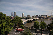 View looking out over the River Thames and Waterloo Bridge in London, England, United Kingdom.