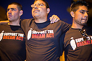 """Sept. 19 - PHOENIX, AZ: Students rally in support of the DREAM Act at US Sen. John McCain's office in Phoenix. About 30 people met in front of US Sen. John McCain's office in Phoenix Sunday night to demonstrate in support of the DREAM Act, which is scheduled to be debated in the US Senate on Tuesday, Sept 21. The Development, Relief and Education for Alien Minors Act (The """"DREAM Act"""") is a piece of proposed federal legislation in the United States that was introduced in the United States Senate, and the United States House of Representatives on March 26, 2009. This bill would provide certain illegal immigrant students who graduate from US high schools, who are of good moral character, arrived in the U.S. as minors, and have been in the country continuously for at least five years prior to the bill's enactment, the opportunity to earn conditional permanent residency. In the early part of this decade McCain supported legislation similar to the DREAM Act, but his position on immigration has hardened in the last two years and he no longer supports it. The protesters, mostly area students, marched and drilled to show their support for the US military and then held a candle light vigil.   Photo by Jack Kurtz"""