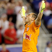 Goalkeeper Luis Robles, New York Red Bulls, celebrates his sides victory during the New York Red Bulls Vs NYCFC, MLS regular season match at Red Bull Arena, Harrison, New Jersey. USA. 10th May 2015. Photo Tim Clayton