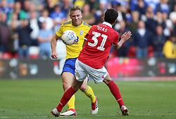 Birmingham City's Michael Morrison (left) and Nottingham Forest's Gil Dias battle for the ball
