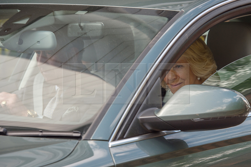 © London News Pictures. 03/04/15. London, UK. The Prince of Wales and the Duchess of Cornwall leave Kensington Palace after meeting the new royal Princess, Central London. Photo credit: Laura Lean/LNP