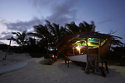 Anguilla, Caribbean - The 'Dune Preserve' beach bar and performance venue home of the moonsplash festival created by Reggae star Bankie Banx