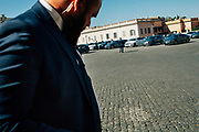 A security man  outside the Quirinale presidential palace during a swearing-in ceremony of Italy's new Cabinet in Rome on September 5, 2019.