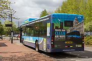 One of Nottingham's zero emission buses which is part of the Robin Hood Network in Nottingham, Nottinghamshire, United Kingdom. The electric buses are part of Nottingham City Council's scheme to clean up the city air.