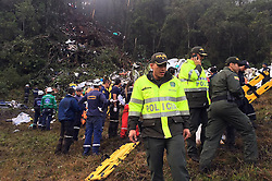 Nov. 30, 2016 - Security members inspect the site of the crashed plane carrying Brazilian soccer team Chapecoense near Medellin, in the department of Antioquia, Colombia. The head of the South American soccer body said Tuesday was a ''tragic day for football'', following a plane crash in which almost an entire Brazilian team was killed. A plane carrying players from Brazilian football team Chapecoense has crashed in Colombia, killing 71 people. (Credit Image: © Filiberto Rojas Ferro/Xinhua via ZUMA Wire)