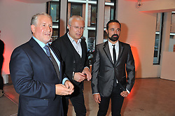 Left to right, SIMON KELNER, ALEXANDER LEBEDEV and EVGENY LEBEDEV at a dinner in aid The Journalism Foundation held at Philips De Pury & Company, Howick Place, London, SW1 on 22nd May 2012.