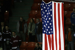 Flag of USA after ice-hockey match USA vs Latvia at IIHF WC 2008 in Halifax,  on May 02, 2008 in Metro Center, Halifax, Canada. USA won 4:0. (Photo by Vid Ponikvar / Sportal Images)