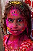 Lathmar Holi (Holi, Festival of Colors), Barsana, near Mathura, Uttar Pradesh, India.