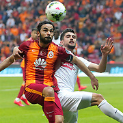 Galatasaray's Selcuk Inan (L) during their Turkish Super League soccer match Galatasaray between Gaziantepspor at the AliSamiYen Spor Kompleksi TT Arena at Seyrantepe in Istanbul Turkey on Sunday, 26 April 2015. Photo by Kurtulus YILMAZ/TURKPIX
