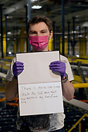 From Bolton. Worked at Amazon for 9 mths. Holding paper showing two impacts of  this COVID lockdown.