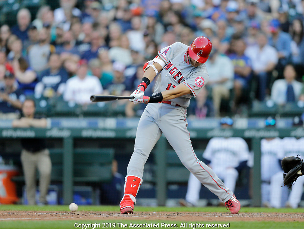 Los Angeles AngelsShohei Ohtani grounds out against the Seattle Mariners during a baseball game, Saturday, June 1, 2019, in Seattle. (AP Photo/John Froschauer)