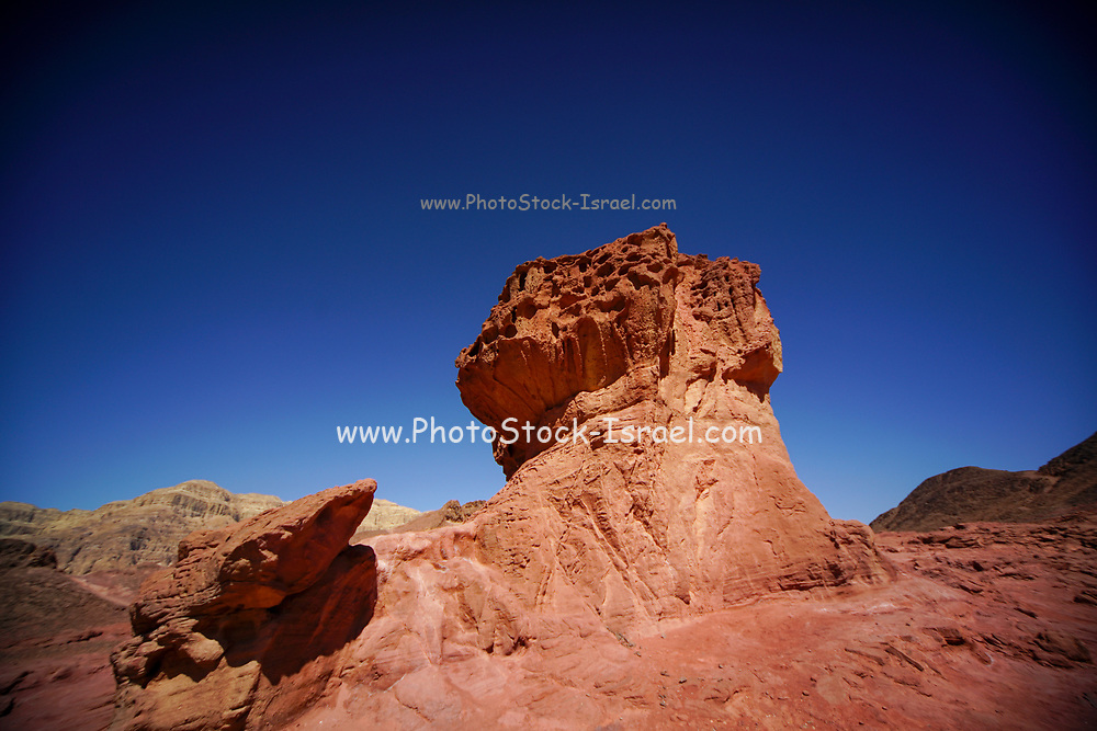 The mushroom rock at Timna valley. Natural Rock formations, Timna natural and historic park, Israel, The Timna Valley is located in the southwestern Arava, some 30 km. north of the Gulf of Eilat.Photographed at Timna park, Israel.