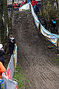 Belgium, Sunday 13th December 2015: A short but steep and very muddy climb on the parcours of the Hansgrohe Superprestige cyclocross event at Spa Francorchamps.<br /> <br /> Copyright 2015 Peter Horrell