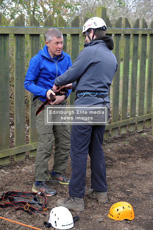 Willie Rennie, National Scout Activity Centre - Fordell Firs, 27-4-2016<br /> <br /> Willie tackles the climbing wall<br /> <br /> (c) David Wardle | Edinburgh Elite media