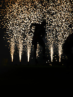 Rugby Union - 2017 / 2018 Guinness Pro14 - Scarlets vs. Ospreys<br /> <br /> silhouette of Steffan Evans of Llanelli Scarlets   as he bounds onto pitch in front of firework display , at Parc y Scarlets.<br /> <br /> COLORSPORT/WINSTON BYNORTH