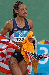 Olympic Champion Joanna Hayes USA in action during Olympics Games Athletics day 12 on August 24, 2004 in Olympic Stadion Spyridon Louis, Athens.