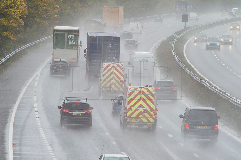 ©Licensed to London News Pictures 29/10/2020  <br /> Swanley, UK. Wet driving conditions for motorists on the M25 between Orpington and Swanley in Kent. October is set to be the wettest month in years as an Atlantic storm brings wet and windy weather to parts of the UK today. Photo credit:Grant Falvey/LNP
