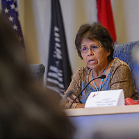 County commissioner Genevieve Jackson puts a question to the assembly during a joint work session at the McKinley County Courthouse in Gallup Tuesday.
