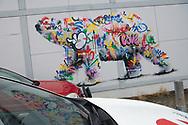 Polar bear, Ursus maritimus, wall mural graffiti or street art, Svalbard, Spitzbergen, Arctic Norway