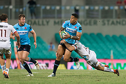 March 23, 2019 - Sydney, NSW, U.S. - SYDNEY, NSW - MARCH 23: Waratahs player Israel Folau (15) tackled by Crusaders player Braydon Ennor (14) at round 6 of Super Rugby between NSW Waratahs and Crusaders on March 23, 2019 at The Sydney Cricket Ground, NSW. (Photo by Speed Media/Icon Sportswire) (Credit Image: © Speed Media/Icon SMI via ZUMA Press)