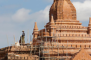 An ancient temple is being restored in the old city of Bagan, Myanmar