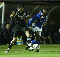 Photo: Aidan Ellis.<br /> Chesterfield United v Manchester City. Carling Cup. 20/09/2006.<br /> City's Stephen Jordan (L) battles with Chesterfield's Paul Hall
