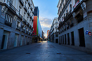 Empty streets and social distancing during the Coronavirus outbreak. Preciados Street on April 29, 2020 in Madrid