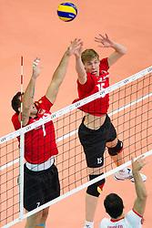 12.09.2011, O2 Arena, Prag, CZE, Europameisterschaft Volleyball Maenner, Vorrunde D, Deutschland (GER) vs Bulgarien (BUL), im Bild Georg Grozer (#7 GER / Rzeszow POL), Max Günthör/Guenthoer (#15 GER / Haching GER) - Vladimir Nikolov (#11 BUL) // during the 2011 CEV European Championship, Germany vs Bulgaria at O2 Arena, Prague, 2011-09-12. EXPA Pictures © 2011, PhotoCredit: EXPA/ nph/  Kurth       ****** out of GER / CRO  / BEL ******