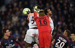 January 27, 2018 - Paris, France - Nordi Mukiele ( Montpellier ) - Vitorino Hilton ( Montpellier )  - Alphonse Areola  (Credit Image: © Panoramic via ZUMA Press)